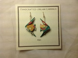 Handcrafted real gold origami crane teal fish dangling earrings image 4