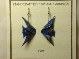 Handcrafted real gold origami crane blue earrings image 3