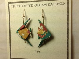 Handcrafted real gold origami crane teal fish dangling earrings image 3