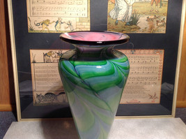 Handmade Blown Glass Swirl Vase Green Pink Semi Translucent 10 Inches High image 2