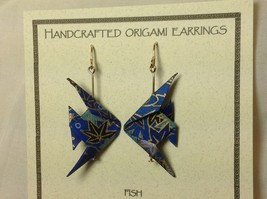 Handcrafted real gold origami crane blue earrings image 2
