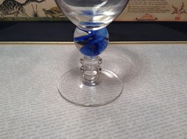 Handmade Glass Champagne or Wine Glass Marblesque Stem Blue Ribbed image 3