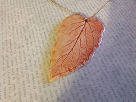 Handmade Flat Ceramic Tomato Leaf Pendant Necklace Sterling Silver Chain image 2