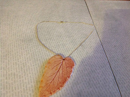 Handmade Flat Ceramic Tomato Leaf Pendant Necklace Sterling Silver Chain image 3