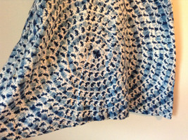 Handmade Dress Blue with White Design and White Circles on Top NO TAG image 3