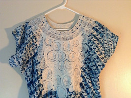 Handmade Dress Blue with White Design and White Circles on Top NO TAG image 2