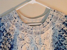 Handmade Dress Blue with White Design and White Circles on Top NO TAG image 8