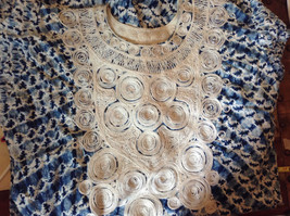 Handmade Dress Blue with White Design and White Circles on Top NO TAG image 12