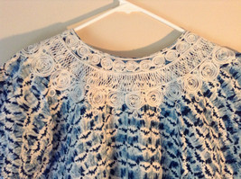 Handmade Dress Blue with White Design and White Circles on Top NO TAG image 9