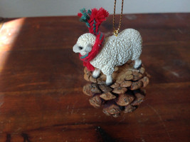 Handmade Pine Cone Pet Sheep with Scarf Ornament Real Pine Cone image 3