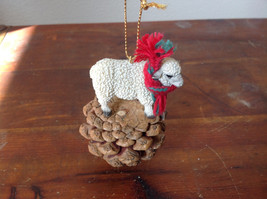 Handmade Pine Cone Pet Sheep with Scarf Ornament Real Pine Cone image 2