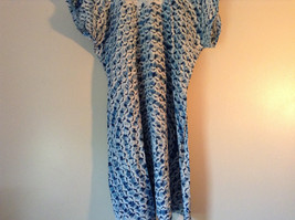 Handmade Dress Blue with White Design and White Circles on Top NO TAG image 11