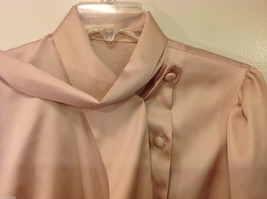 Handmade Pastel Cream Blouse Asymmetrical Button Closure and Tie, NO Size tag image 9