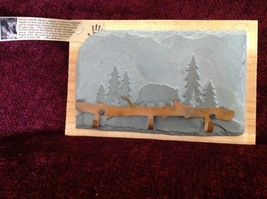 Handmade Slate Wood Coat Rack 3 Hooks Hand made Colorado bear pine trees image 2