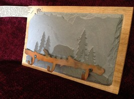 Handmade Slate Wood Coat Rack 3 Hooks Hand made Colorado bear pine trees image 4
