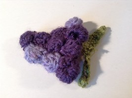 Handmade Knitted Pin Brooch Violet Purple Grapes Design image 2