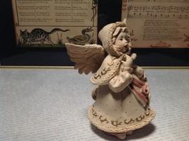 Handmade Resin Angel Girl Singing Alexandria Hand Painted Beige Red Gold Tone image 5