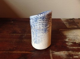 Handmade Round Tall Trinket Box Light Blue with Crisscross Etchings Vintage image 2