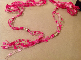 Handmade Pink Beads Breast Cancer pendant on fabric pink thread cord necklace image 3
