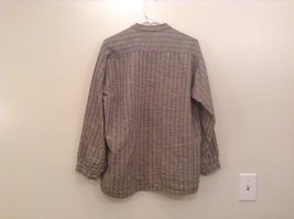 Handmade Size Large Long Sleeve Button Up Shirt Gray with Black and Red Stripes image 2