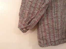 Handmade Size Large Long Sleeve Button Up Shirt Gray with Black and Red Stripes image 6