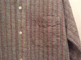 Handmade Size Large Long Sleeve Button Up Shirt Gray with Black and Red Stripes image 5