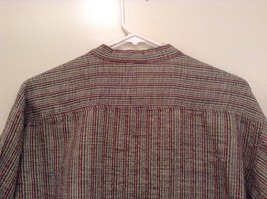 Handmade Size Large Long Sleeve Button Up Shirt Gray with Black and Red Stripes image 7