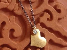 Handmade Zina Kao Flat Heart w CZ Bezel set Charm Necklace Gold w Black Chain image 3