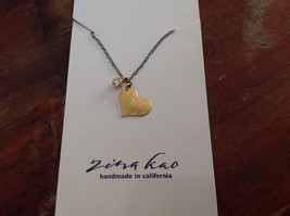 Handmade Zina Kao Flat Heart w CZ Bezel set Charm Necklace Gold w Black Chain image 2
