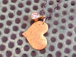 Handmade Zina Kao Flat Heart w CZ Bezel set Charm Necklace Gold w Black Chain image 4