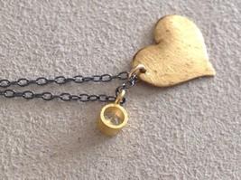 Handmade Zina Kao Flat Heart w CZ Bezel set Charm Necklace Gold w Black Chain image 8