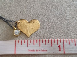 Handmade Zina Kao Flat Heart w CZ Bezel set Charm Necklace Gold w Black Chain image 9