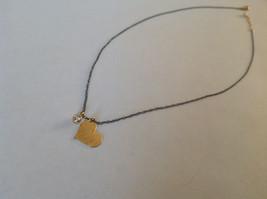 Handmade Zina Kao Flat Heart w CZ Bezel set Charm Necklace Gold w Black Chain image 5