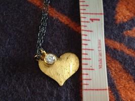 Handmade Zina Kao Flat Heart w CZ Bezel set Charm Necklace Gold w Black Chain image 7