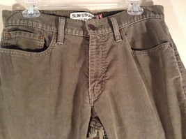 Levis Slim Straight Gray Green Corduroy Pants Size 32 by 29 Zip Button Closure image 3