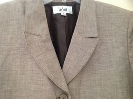 Light Brown Patterned Blazer Three Quarter Length Sleeves by Le Suit Size 16 image 5