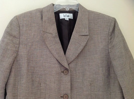 Light Brown Patterned Blazer Three Quarter Length Sleeves by Le Suit Size 16 image 2