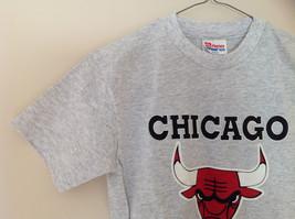 Hanes Heather Gray Chicago Bulls T-Shirt Bull Head Graphic Size Medium 10 to 12 image 3
