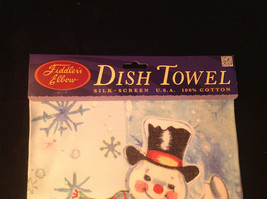 Happy Dancing Snowman Christmas Dish Towel by Fiddlers Elbow Absorbent Lint Free image 2