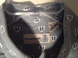 Light Green Gray Button Up Long Sleeve Design White Shields Fieldmaster Size L image 3