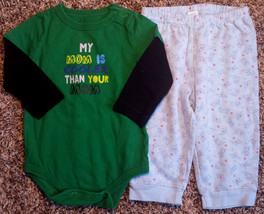 Boy's Size 9 M 6-9 Months 2 Pc Green My Mom Is Cooler Than Your Mom Top ... - $12.00