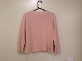 Light Dusty Pink V Neck Sweater Size Large J Jill Decorative Knitting on Neck image 2
