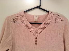 Light Dusty Pink V Neck Sweater Size Large J Jill Decorative Knitting on Neck image 3