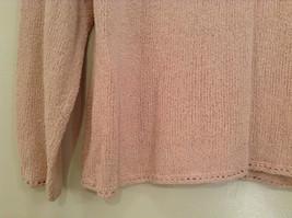Light Dusty Pink V Neck Sweater Size Large J Jill Decorative Knitting on Neck image 6