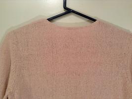 Light Dusty Pink V Neck Sweater Size Large J Jill Decorative Knitting on Neck image 5