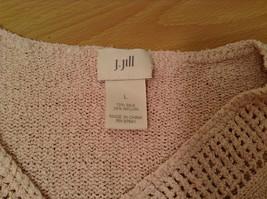 Light Dusty Pink V Neck Sweater Size Large J Jill Decorative Knitting on Neck image 7