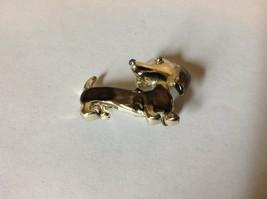 Light Gold Tone Weiner Dog Pin Brooch Gray Enamel Hinge Clasp Dachsund image 2