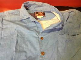 Hawaiian Mens Short Sleeved Shirt Blue Green Yellow Size Large image 4