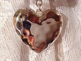 Heart Shaped Scarf Pendant Silver Tone Look of Hammered Metal image 7