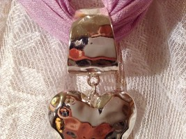 Heart Shaped Scarf Pendant Silver Tone Look of Hammered Metal image 6